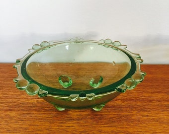 Set of 3 Vintage 1970's Green Glass Bowls