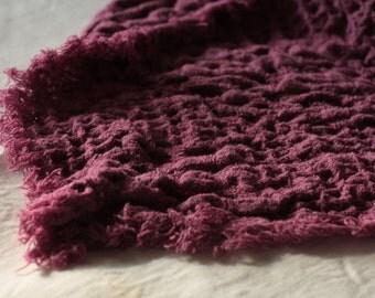 Pure Linen Blanket Premium 100% linen Waffle-textured linen throw Deep Pink color