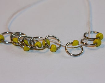 Yellow Snag Free Stitch Markers (set of 10)