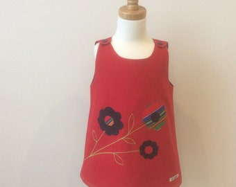 Girls' Pinafore Dress with flower applique, Size 2, Girls' Applique Pinafore, Girls' Pinny, Girls' Tunic, Girls' Red Dress, A-Line Pinafore