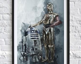 Star Wars - C3PO & R2D2 'Watercolor' A4 Print