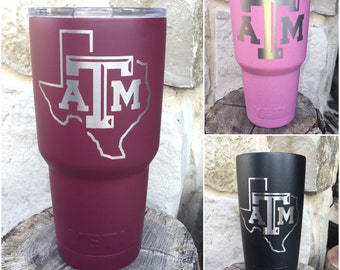 Texas Aggies A&M Etch - NEW Authentic YETI or Ozark Rambler Custom Powder Coated
