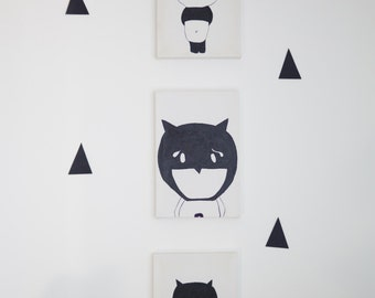 3 canvas handmade drawing