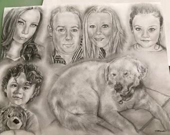 Custom Portrait - Family of 5 and dog