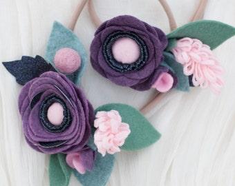 SET Blueberry Night // felt flower headband // Mummy and me set