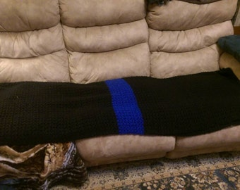 Thin Blue Line Crochet  Adult Afghan