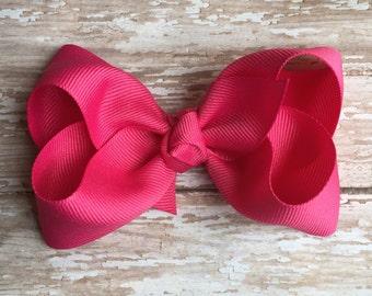 Hot pink hair bows, hair bows, solid color hair bows, large hair bows, Thanksgiving hair bows, holiday hair bow, boutique bow,