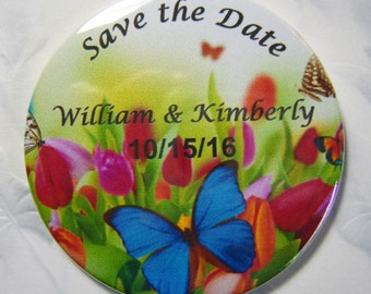 Butterflies Save the Date Magnets for your Wedding, Pack of 15