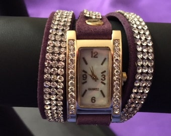 Purple Wrap-Around Watch with Rhinestones