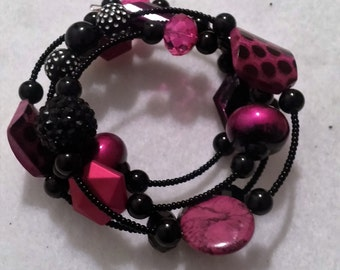 Pink and Black Wrap Bracelet