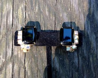 Glamorous Gold Tone Black Cabuchon/Aurora Borealis Rhinestone Earrings - Clip