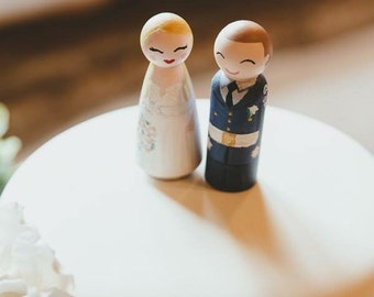 Hand-painted Customised - Wooden Peg Cake Toppers - Wedding