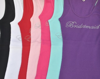 Bridesmaid tank shirt top variety of colors! Perfect wedding gift bride to be, maid of honor, mother of the bride, bride.