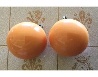 Dome lucite earrings, orange, vintage, mod, 60's