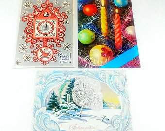 SET of 3 Vintage christmas card Happy New Year postcard Vintage New Year Holiday postcards Merry christmas Soviet vintage ephemera antique