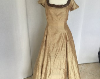 One of a Kind Gold Silk dress