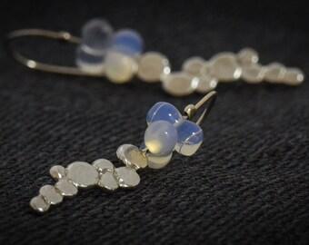 Silver pebbles Earrings, Silver dangle earrings, Drop earrings,Opalite balls Earrings,Silver opalite Earrings,Fine Jewelry,Exclusive Jewelry