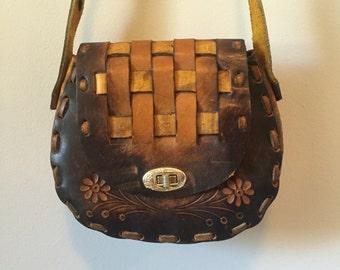 Vintage 1960's Hand Tooled Leather Saddle Bag