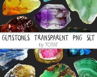 43 gemstones transparent PNG set, digital clipart, gemstones clipart, gems clipart, stones clipart