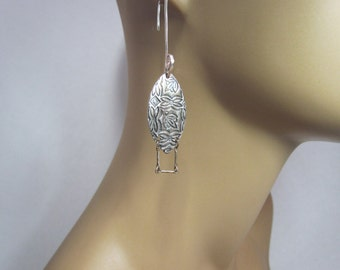 999 Fine Silver Dangling Earrings Collection Lightweight Hand Sculpted Hand Crafted One-of-a-kind - Item 4700-1