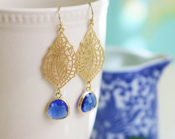 blue glass earrings, gold and blue earrings, royal blue earrings, something blue, dangle earrings, gold dangle earrings