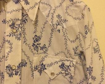 Vintage Western/Rancher/Cowboy Shirt Long Sleeve Form Fitted