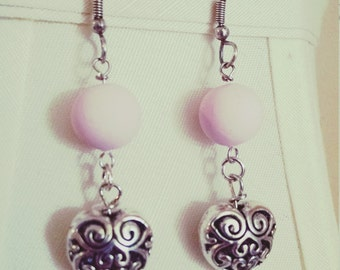Pink Sweetheart Dangle Earrings