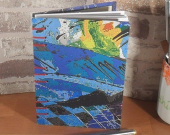 Notebook A6 blue art / / gift / / memories / / blank / / secret Santa //koptische binding
