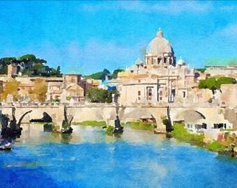 Rome bridge printable watercolor wall art, digital download Ponte Sant'Angelo Rome, instant download Italy aquarelle, Tevere Rome painting