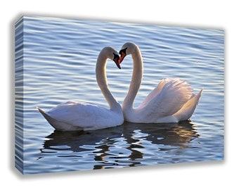 LOVE SWANS HEART Shape Canvas Wall Art