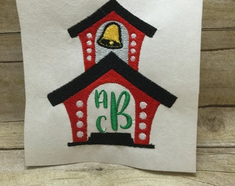 School House Monogram Embroidery Design, Back to School Embroidery Design