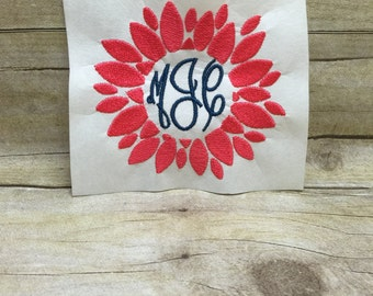Flower Monogram Embroidery Design, Flower Embroidery Design