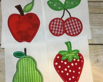 Fruit Applique Package, Apple Applique, Pear Applique, Strawberry Applique, Cherry Applique