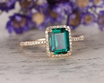 Diamond with 6x8mm Emerald cut emerald ring,engagement ring,wedding ring,14k yellow gold,Vivid Green emerald promise ring,Bridal ring