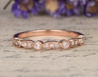 14K Rose Gold Wedding Bands women,half Eternity Engagement Ring ,stacking matching band,custom made fine jewelry,Milgrain bridal ring