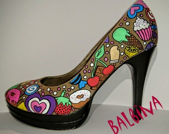 Custom Hand painted high heels/ hand painted shoes / candy/ sweets / ice cream