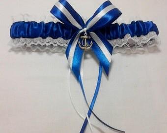 Anchor sailor lace Bridal Wedding Garter. Nautical. Beach