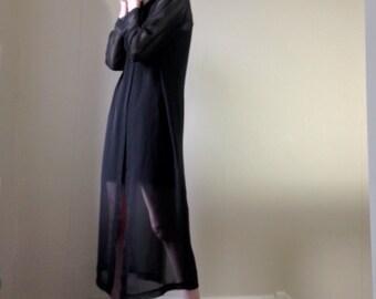 90s semi sheer maxi black shirt dress/coat size 10