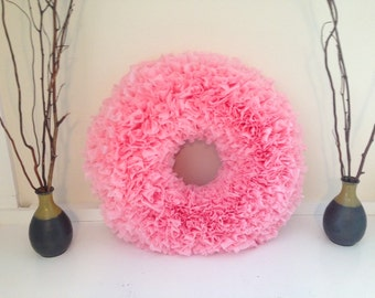 SALE!  Pink Plastic Tablecloth Rag Wreath 20""