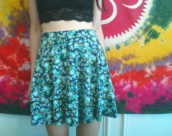 Blue Floral Print Circle Skirt
