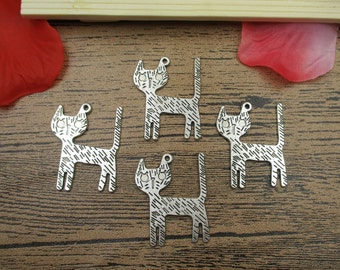 12 Cat Charms,Antique Silver Tone -RS131