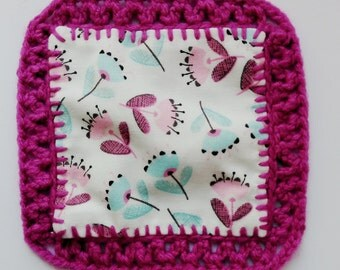 Crochet and fabric coaster