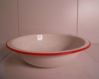 White & Red Enamelware Large Mixing Bowl