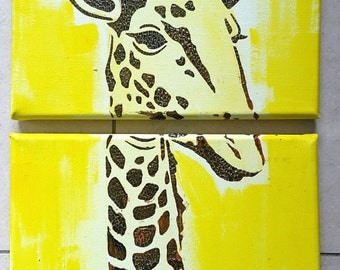 Canvas acrylic painting 40 x 20 2 set GIRAFFE Africa Safari structures