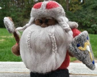 Needle Felted Dwarf with Ax and Shield