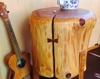 Handmade Redwood Stump Side Table