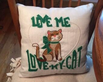 Cat Pillow - Love Me Love My Cat