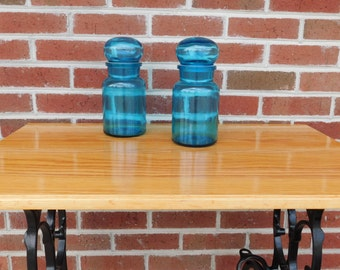 Vintage Blue Glass Apothecary Bubble Lid Display Jars Made In Belgium