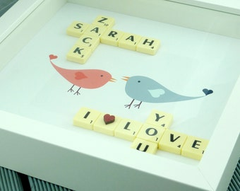 Personalised Scrabble picture frame scrabble art scrabble design scrabble wall art scrabble picture frame gift I love you birds design