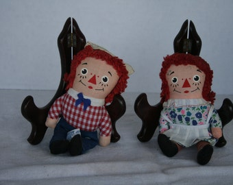 """Vintage 6"""" Raggedy and and Andy dolls"""